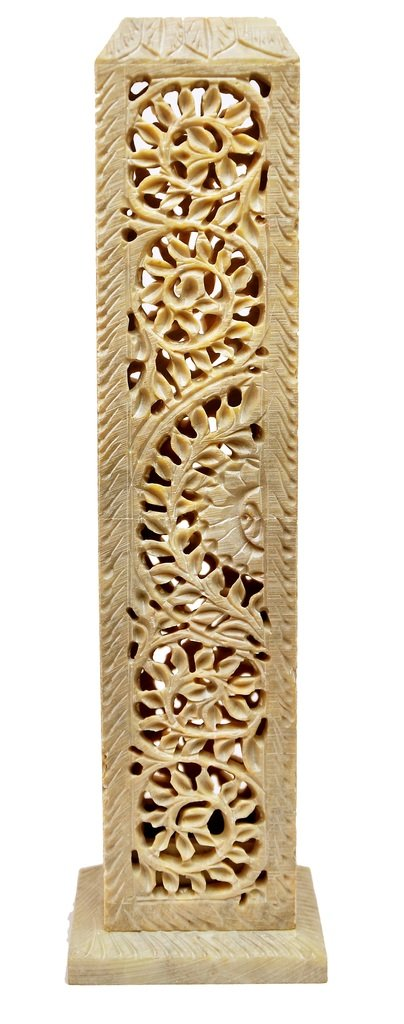 Artist Haat Handcarved Soapstone Cylindrical Shaped Incense and Candle Holder in Floral Jali Work (Beige, 3