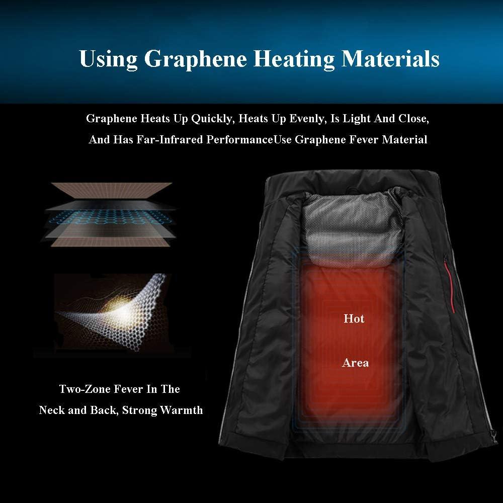 Gilet di Riscaldamento da Uomo/Gilet Elettrico Caldo, Lavabile, con Cavo USB - per I Viaggi di Lavoro All\'aperto in Inverno, in Campeggio E sugli Sci,A-M B-L