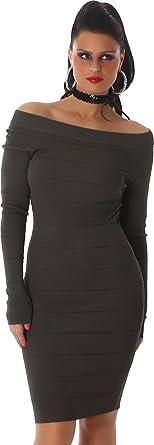 46e44e76993739 Voyelles Damen Kleid Strickkleid Strick Langarm Carmen-Ausschnitt  Pulloverkleid 34,36,38 Oliv