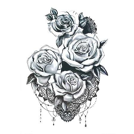 3 unids Moda Tatuaje Femenino Pegatina Negro Rosa diseño Completo ...