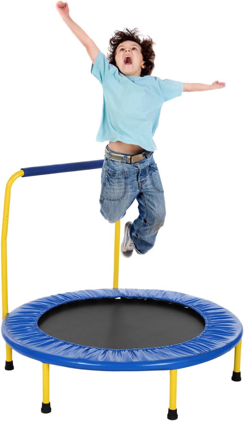 Fioleken Mini Rebounder Trampoline for Kids 36 inch Foldable with Adjustable Handle Indoor Outdoor Use for Child Age 3