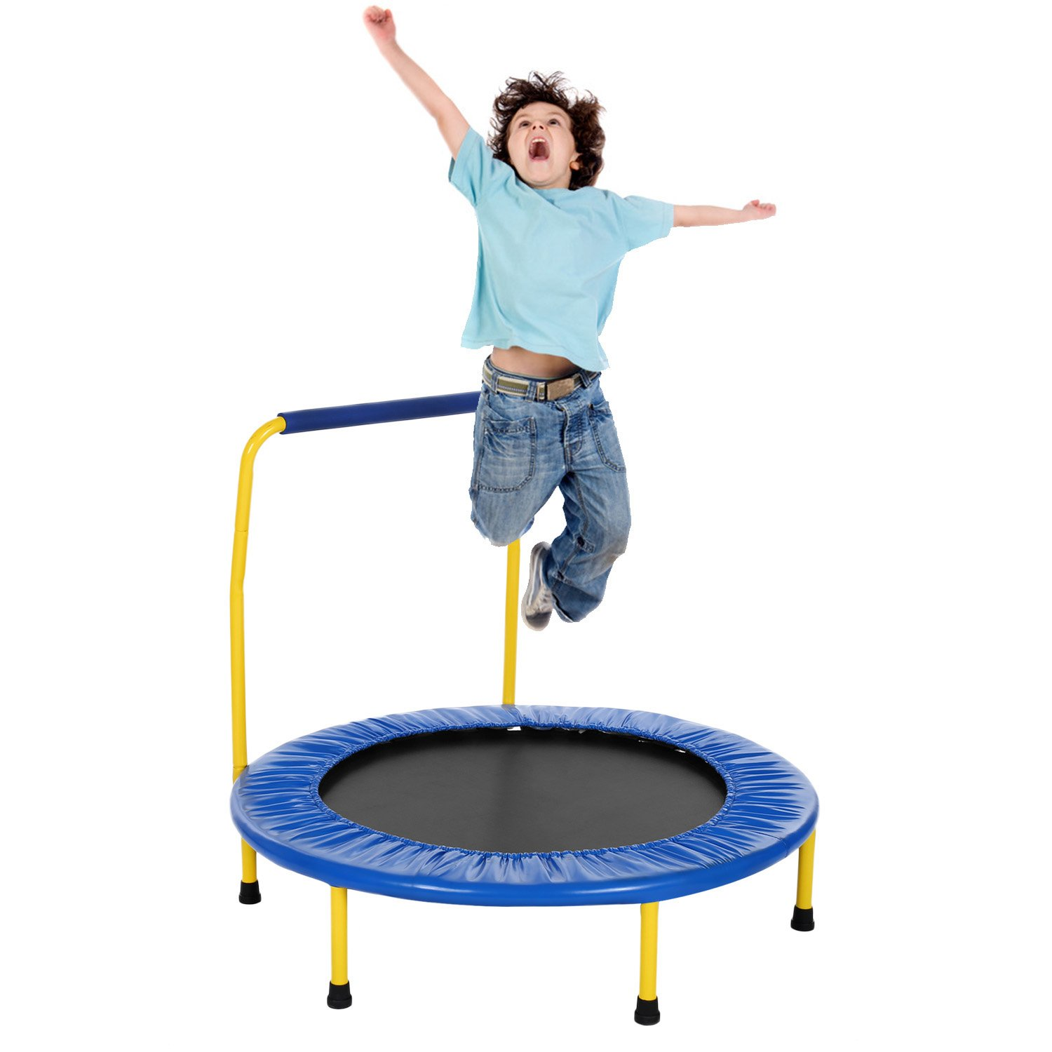 Tomasar 36'' Mini Kids Trampoline Foldable Rebounder Fitness Indoor or Outdoor Trampoline with Balance Handrail (Blue)