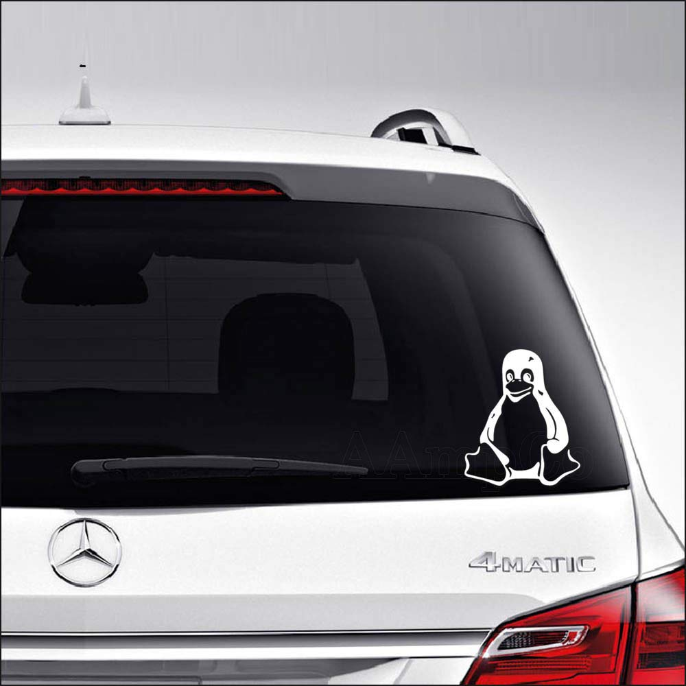 Amazon com aampco decals linux tux penguin car truck motorcycle windows bumper wall decor vinyl decal sticker size 6 inch 15 cm tall color gloss white