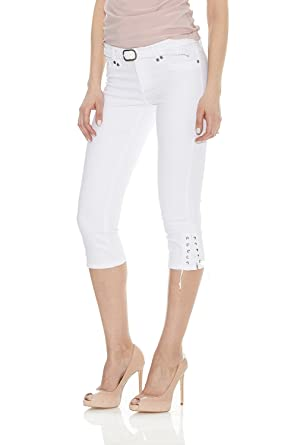 6f150963e1 Suko Jeans Womens Power Stretch Capri Pant with Braided Woven Belt - White -