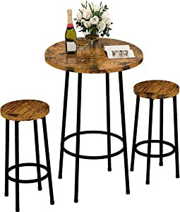 Recaceik 3 Piece Pub Dining Set, Modern Round bar Table and Stools for 2 Kitchen Counter Height Wood Top Bistro Easy Assemble for Breakfast Nook Living Room Small Space Restaurant, Rustic Brown 23