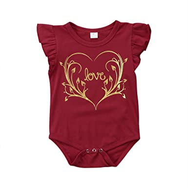 5742f58f4809 yannzi Newborn Baby Girls Romper Clothes Cotton Bodysuit Ruffle Sleeve  Bronzing Love Jumpsuit - Red -  Amazon.co.uk  Clothing