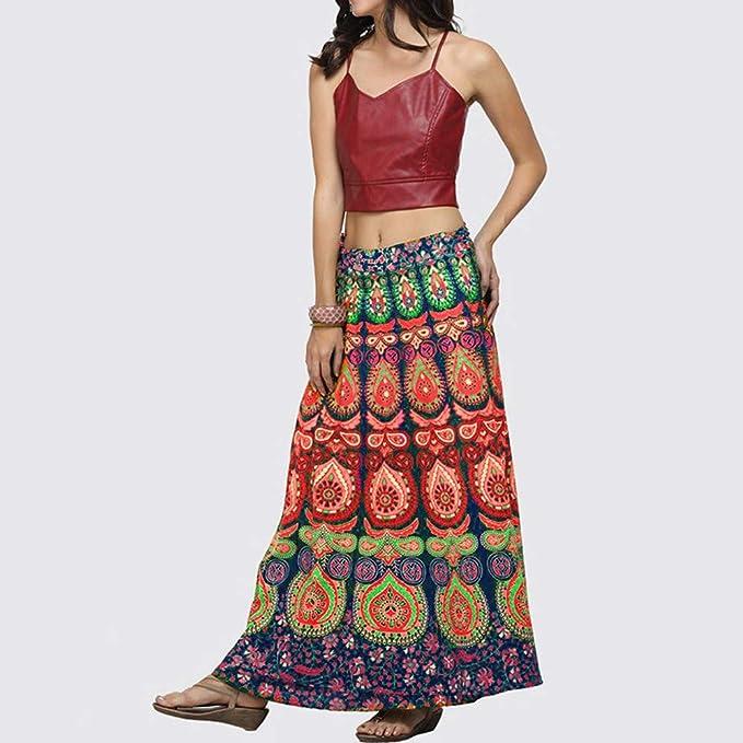 Rcool Falda Corta Faldas Faldas Mujer Invierno Faldas largas Falda Flamenca Mujer, Falda con Estampado de Plumas Suelta Boho Falda Larga de Playa Bohemia: ...