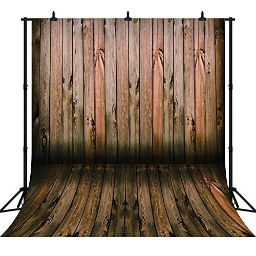 DePhoto 10x10Ft Retro Wooden Wall Floor for Christmas