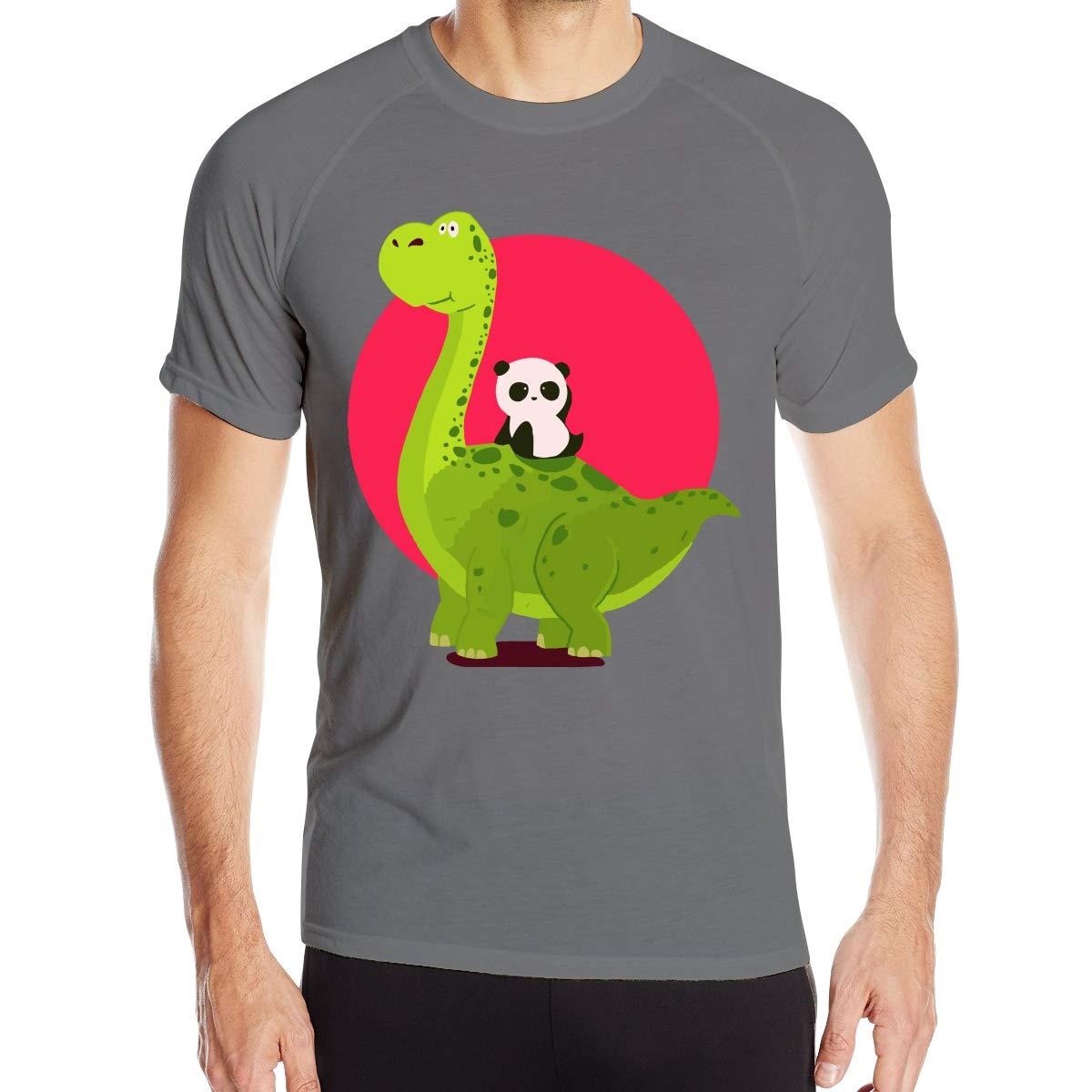 XueDaoStore Panda Riding A Dinosaur Men Wash and Wear Round Neck Tshirts Tee Short-Sleeved Base Shirt