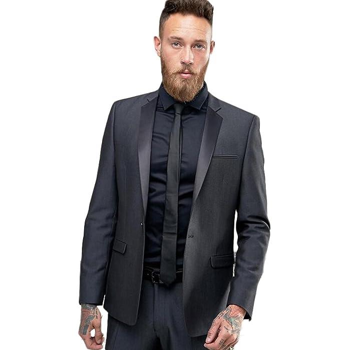 AK Beauty Notch Lapel Dark Grey 2pc Men Suit Slim Fit Suit ...