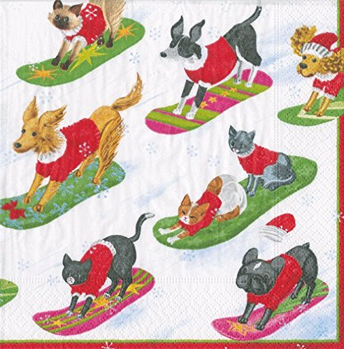 Paper Napkins Christmas Party Holiday Party Dog Theme Lunch Dessert Napkins Pk 40 ()