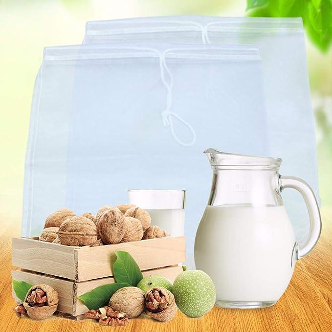 TIMGOU 3 unidades de bolsa de leche con un embudo plegable, 30 cm x 30 cm, colador de leche reutilizable de malla fina de nailon para queso y café frío, ...