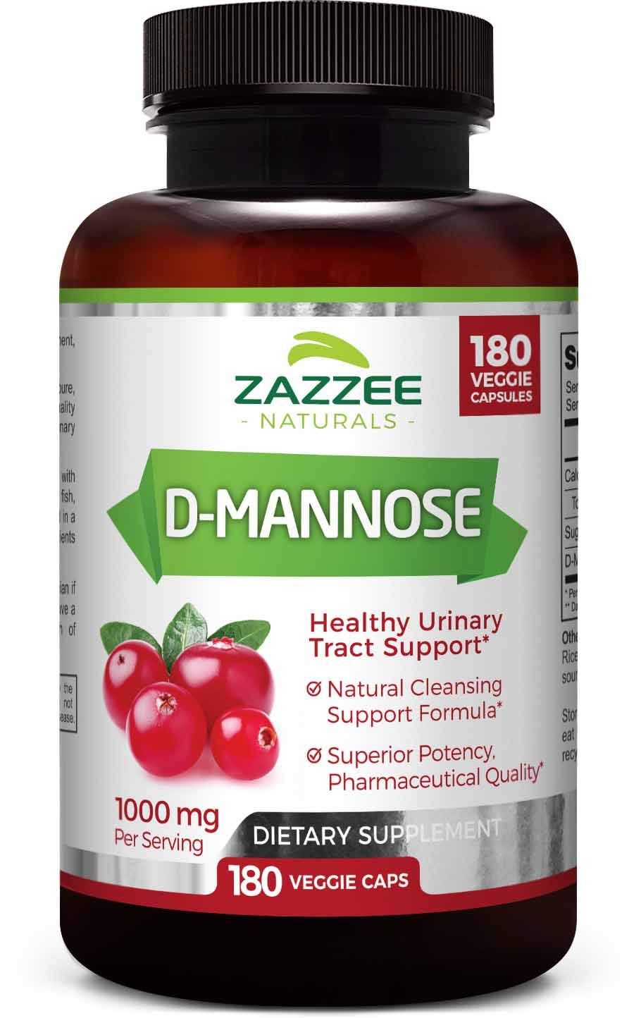 Zazzee D-Mannose 180 Veggie Capsules, 1000 mg per Serving, Pure, Potent and Fast-Acting, Extra Strength Dosage, Vegan, Non-GMO and All-Natural by Zazzee Naturals