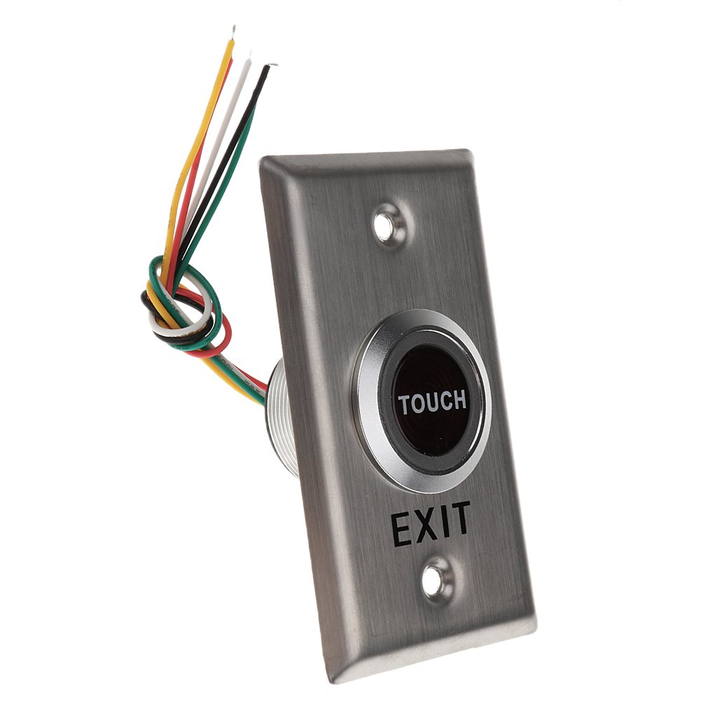 MonkeyJack Stainless Steel Touch Pad DCl2V-24V NC NO COM Door Exit Release Button Switch For Access Control With LED Light ( Rectangle Shape ) #CT50