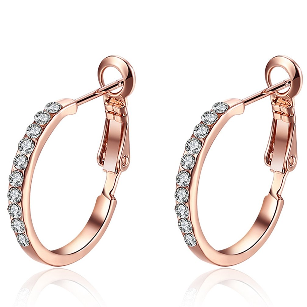 Women's 18K Gold Plated Sparkle Cubic Zirconia Hypoallergenic Pierced Huggie Hoop Earrings 2.1CM Diameter Rose