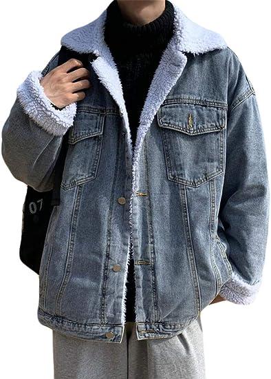 PPEIREEデニムジャケット メンズ 裏起毛 gジャン カジュアル ブルゾン ゆったり アウター 防寒着 シンプル デニムブルゾン 厚手 大きいサイズ デニムコート
