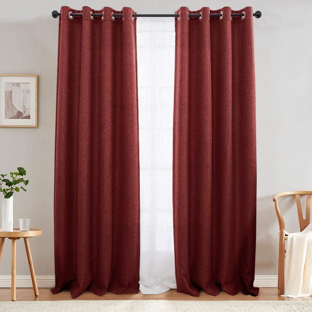 jinchan Curtains for Bedroom Linen Look Curtains for Living Room Grommet Room Darkening Window Curtain One Panel 84 Inch Burgundy Red