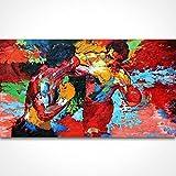 Handgemaltes Leroy Neiman Rocky vs APOLLO Abstrakte Künstler Gemälde Malerei auf Leinwand Film Poster Boxen Sport, canvas, 32x48inch(80x120cm)