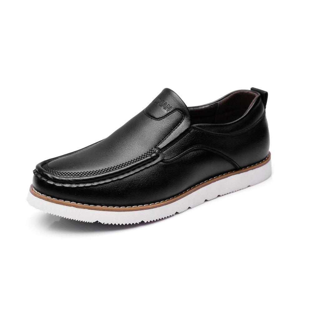 Battle Men Men's PU Leather Oxfords Low Top Flat Sole Loafers Fashion (Color : Black, Size : 9.5 MUS)