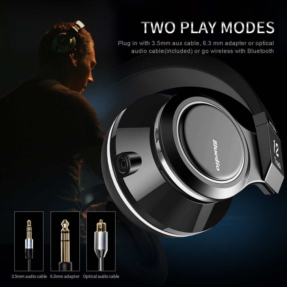 Bluedio V (Victory) Pro Patented PPS12 Drivers Wireless Bluetooth headphones (Black) by Bluedio (Image #5)