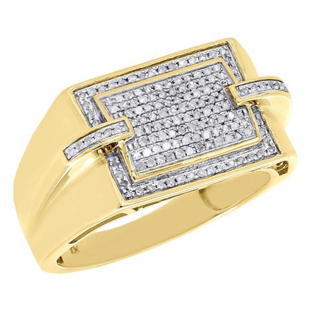 10K Yellow Gold Plating Mens Round CZ Simulated Diamond Pave Pinky Ring Square Top 0.33 Ct DreamJewels Ms-13