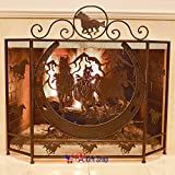 BestGiftEver Metal Foldable Fireplace Screen with Horseshoe and Running Horses in Brown Metal Mesh Rustic Western Country Style