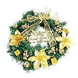 DIY Merry Christmas Wreath,Minertech Window Door Decorations Bowknot Ornament 40CM (Gold)