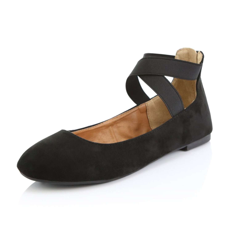 b7fe57232e697 DailyShoes Women's Classic Comfortable Casual Walk Elastic Cross Strap  Round Toe Slip-On Flat Shoes