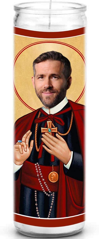Ryan Reynolds Celebrity Prayer Candle - Funny Saint Candle - 8 inch Glass Prayer Votive - 100% Handmade in USA - Novelty Celebrity Gift
