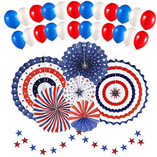 Extpro Patriotic Decorations Set with 6Pcs Red White and Blue Paper Fans, 30Pcs latex balloons and 1Pcs Star Paper String for Party Wall Hanging Decor