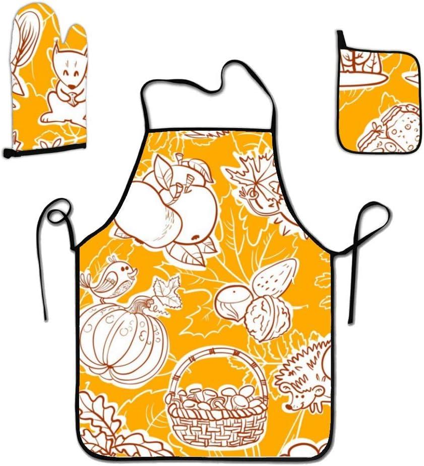 liubajsdj Oven Mitt 13.7 x 7.7, and Pot Holder 8 x 8, Kitchen Gift Set, Pumpkin Hedgehog Machine Washable and Heat Resistant for Cooking and Baking