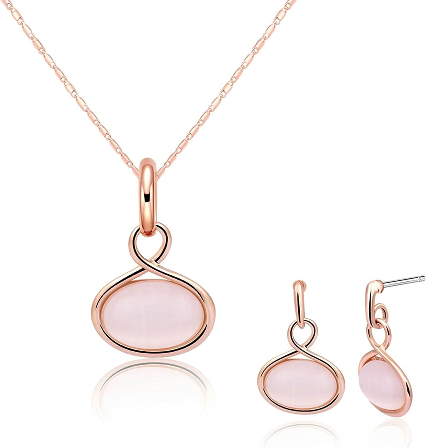 Womens Jewelry Set Gold Plated Necklace and Earrings Set Pink Infinity Oval Stone Wedding Gift Adisaer