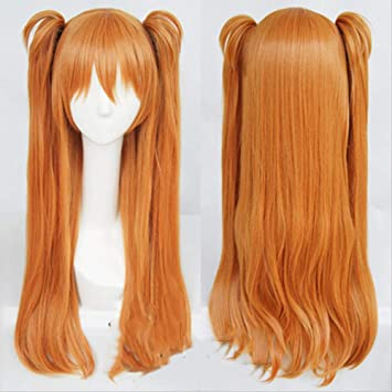 BELUNOT Hair EVA Asuka Langley Soryu Long Orange Heat Resistant Hair Cosplay Costume Wig + 2 Ponytail Clips
