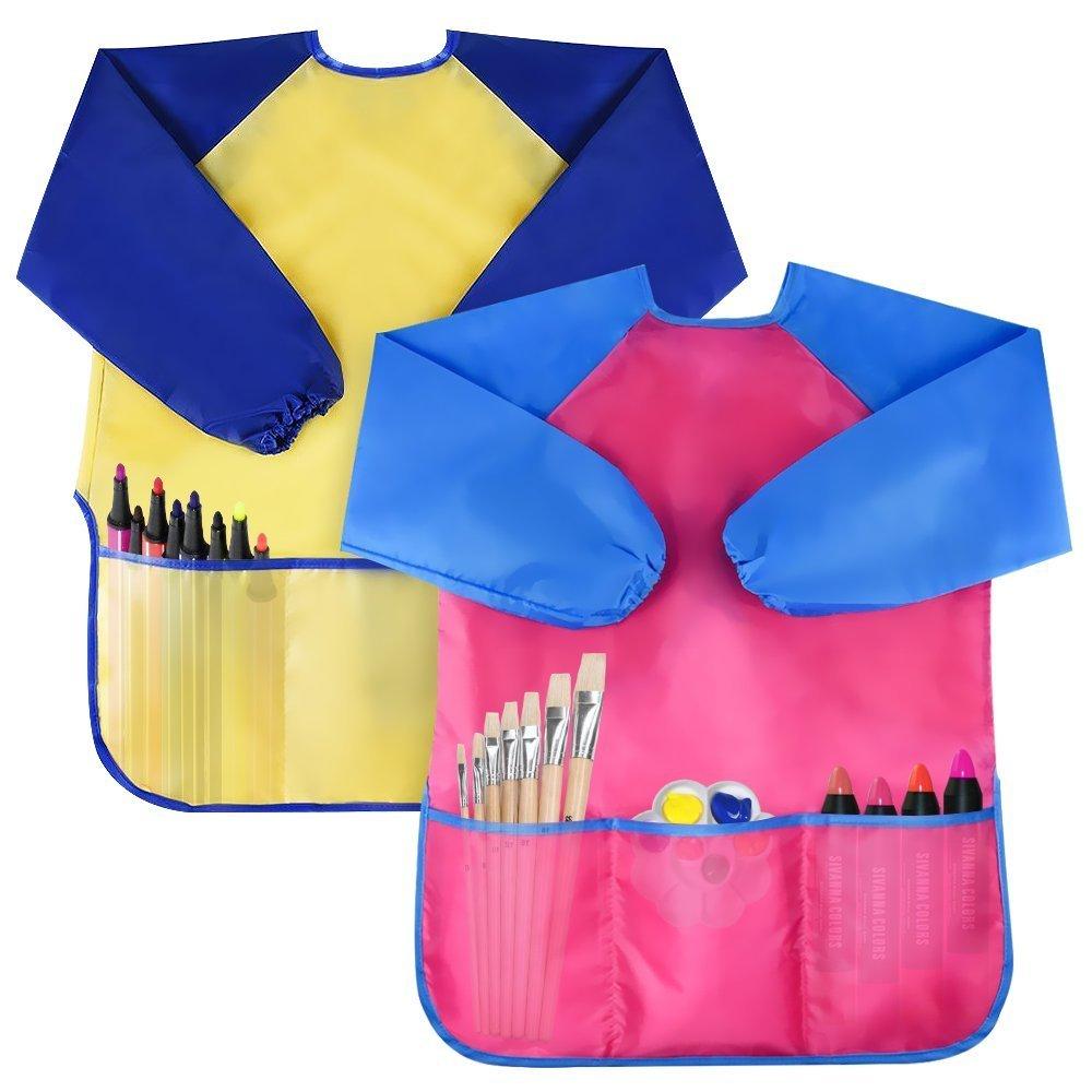 NABLUE 2 Piece Waterproof Children's Art Smock Kids Art Aprons with Long Sleeve 3 Roomy Pockets, Art Painting Supplies (Pink+Yellow) ETLHHZY00