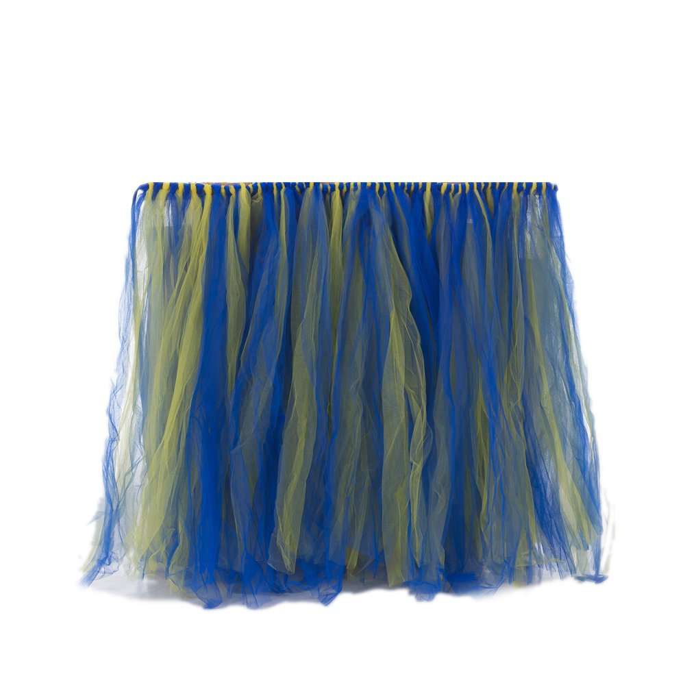 Fantasy Closet Birthday Wedding Baby Shower Tulle Tutu Table Skirt Tableware Cover Party Decoration Azure Blue