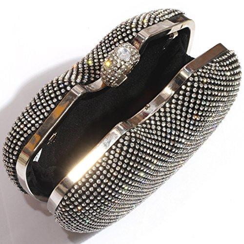 Rhinestone Clutch Bags Clutch Evening women Cherry Shiny Wedding Shape Digabi Crystal Purse Black 54nHZqHw