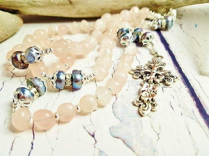 Amazon Com Rose Quartz Handmade Rosary Wedding Gift For Best Friend
