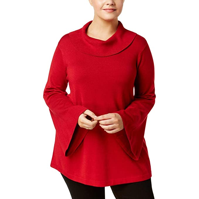 9bab11d0588 Alfani Womens Plus Cowl Neck Bell Sleeves Pullover Sweater Red 2X at ...