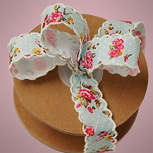 (Blue Vintage Floral Ribbon - 1 Inch Wide - 10 Yard Spool)