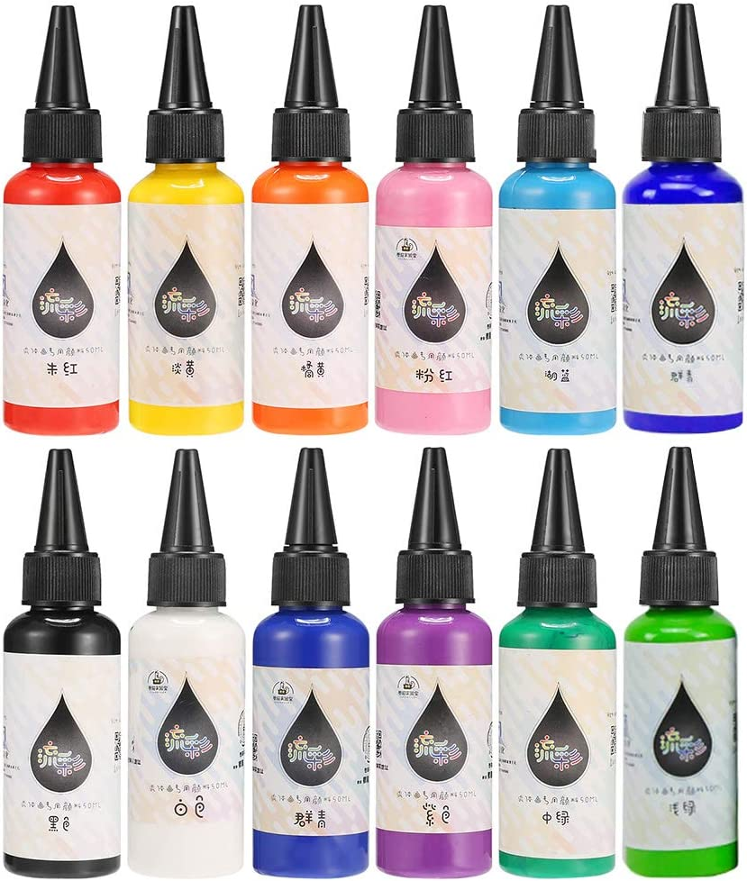 Bearals Acrylic Pouring Paint, Pouring Acylic Paint, Fluid Pouring Paint, No Mixing Needed (Set of 12 Colors)