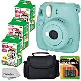 Fujifilm Instax Mini 8+ (Mint)Instant Film Camera W/ Self Shot Mirror + Fujifilm Instax Mini 3 Pack Instant Film(60 Shoots) + Case + Batteries Top Kit - International Version (No Warranty)
