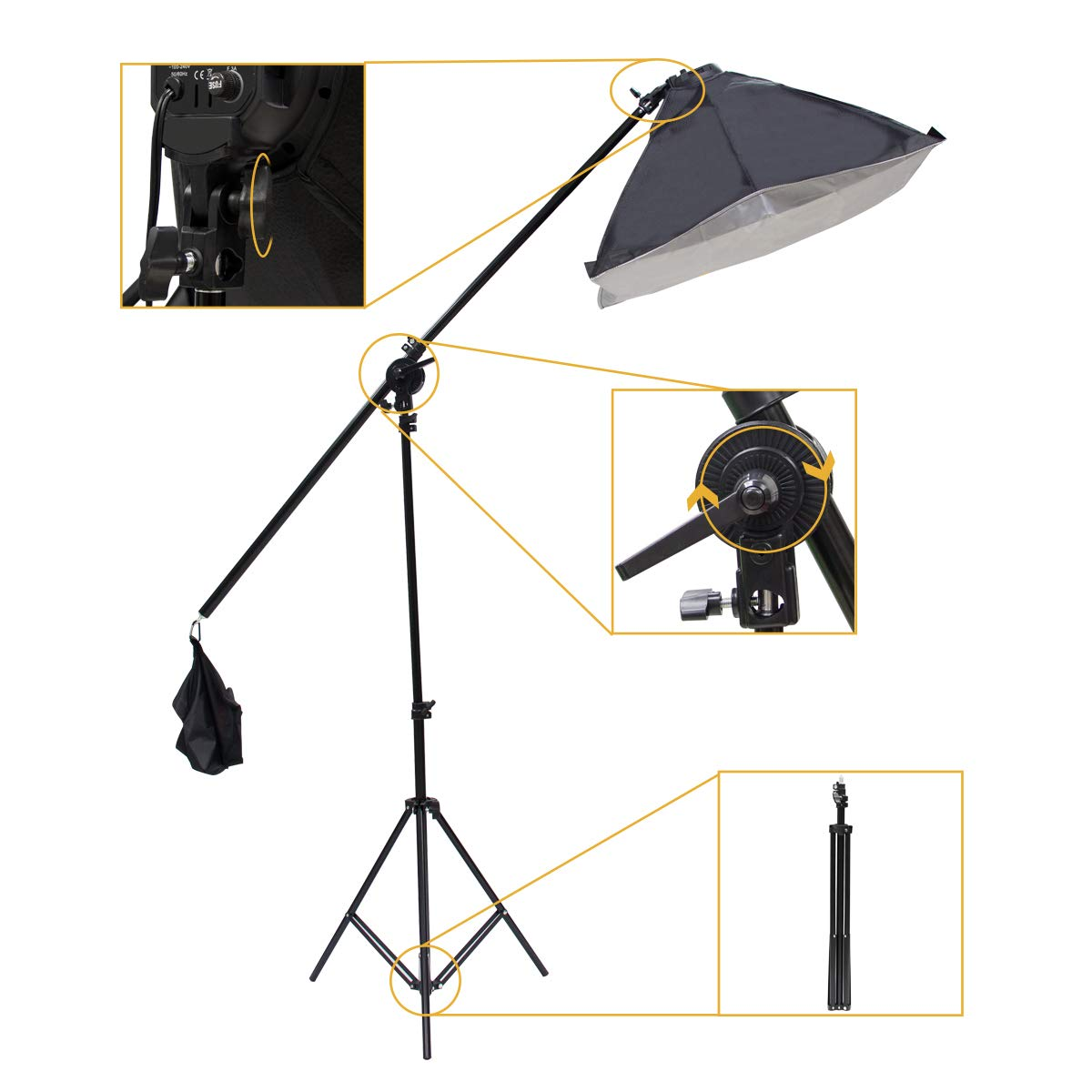 Wisamic Photography Video Studio Lighting Kit, Background Support System 10ft x 6.6ft/2MX3M with 3 Color Backdrop, 3 Umbrella, 3 Softbox, Continuous Lighting Kit for Photo Video Shooting Photography by Wisamic (Image #6)