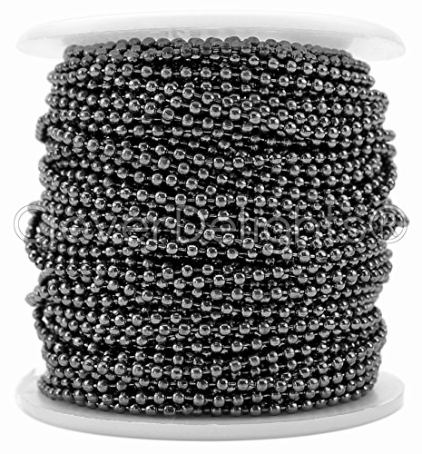 CleverDelights Ball Chain Spool - 100 Feet - 2.0mm Ball - Gunmetal (Dark Silver) Color - Bulk Roll (Silver 100ft Spool)