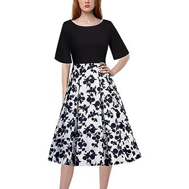 7175653d4a8 Angelof Robe Demi-Manches SoiréE Femme Robe De Plage Courte Robe Imprimé  Floral Vintage Robe