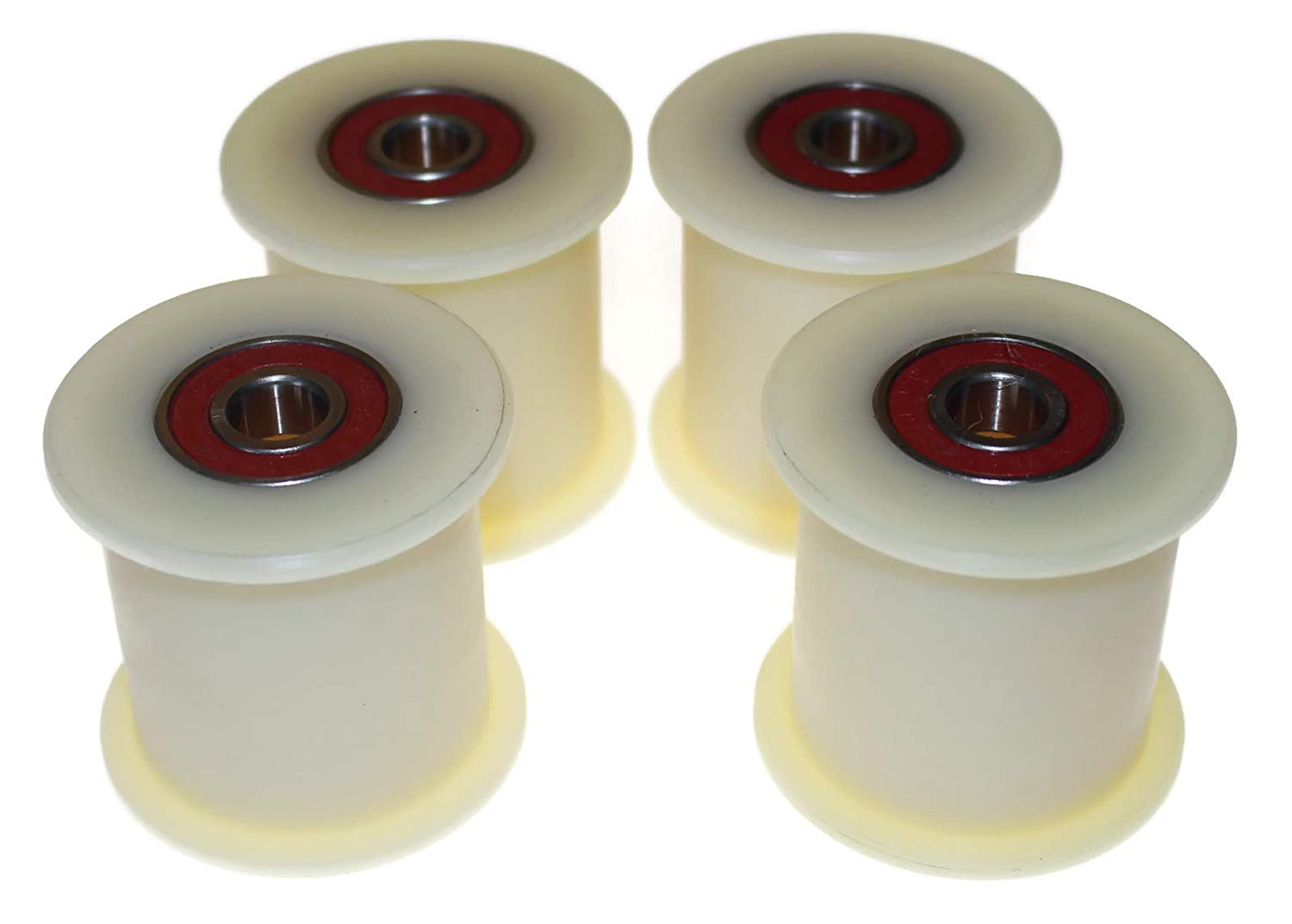 60-50-12 Pack of 4 x Nylon Belt Idler 60 mm diameter 50 mm Groove 12 mm bearing Precisely Machined in the EU