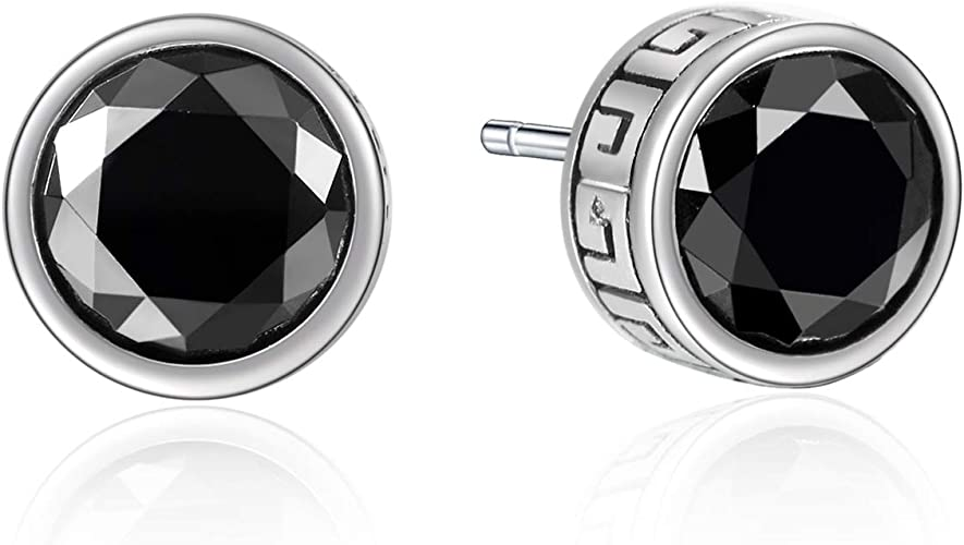 Circle Studs Round Studs Everyday Jewelry Black Stud Earrings 925 Sterling Silver
