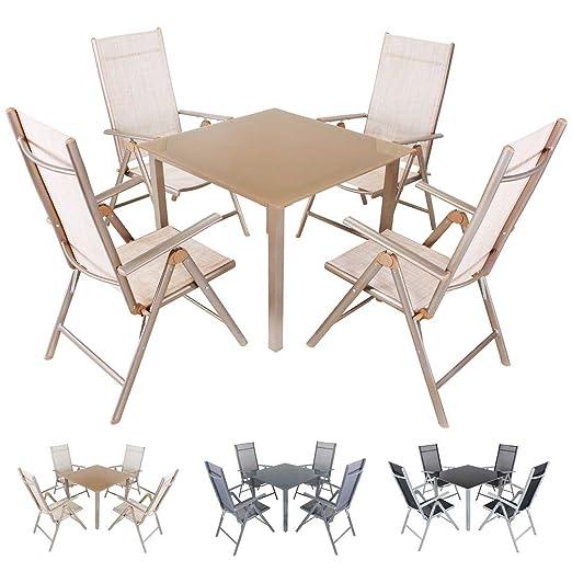 miweba Moreno 4 + 1 Aluminio Sillas 90 x 90 Muebles de Jardín de ...