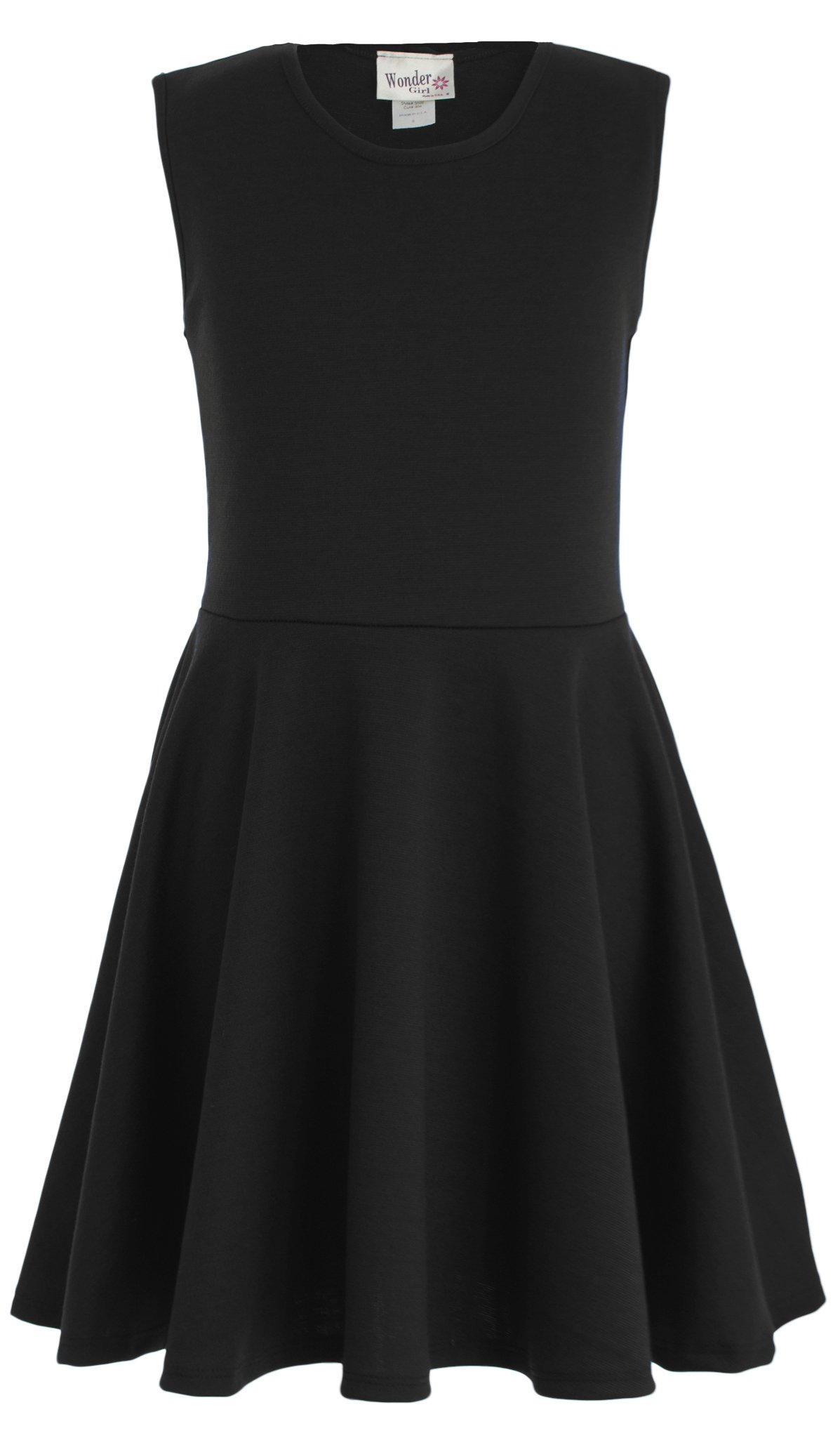 Wonder Girl Skater Dress Big Girls' Ponti Roma Sleeveless 12 P Black
