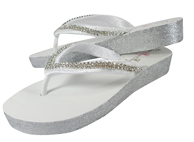 dc2c8ae662646 Amazon.com  Flip Flops in Silver and White Diamond Rhinestone Low Wedge  Heel