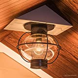 Luxury Nautical Outdoor Ceiling Light, Small Size: 10.5''H x 11.5''W, with Art Deco Style Elements, Cage Design, Bold Tawny Bronze Finish and Seeded Glass, UQL1033 by Urban Ambiance